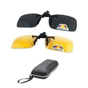 2 paires HD polarisées + lunettes de vision nocturne lunettes clip pour myopic femmes UV400 réduit les reflets, améliorer votre vision, idéal pour la chasse de tir de conduite – jaune + gris