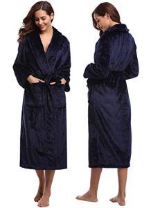 Abollria Peignoir Femmes Polaire à Capuche Peignoir de Bain Robe de Chambre Chauds pour Hiver, Navy Bleu, M