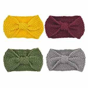 DRESHOW 4 Pièces Nœud Bandeau Hiver à Couleur Pure Laine Tricotée Tete Cheveux Femme Crochet Hiver Chaud Noué Bande Elastique Cheveux