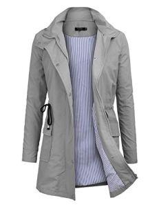 Imperméable à Capuche Femme, Ponchon de Pluie, Trench Capuche Femme, Manteau de Pluie Raincoat Waterproof (Jaune, Large)
