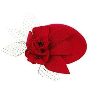 Lawliet Chapeau de cocktail noir pour dame avec fleurs et perles – Rouge – Taille Unique