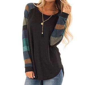 Pull Femme Hiver Chic – Col Rond Manches Longues Jointif Couleur Tops – Sweatshirt Blouse Vert M