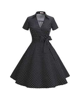Timormode Robe Années 50's Audrey Hepburn Rockabilly Swing,Plissé Robe à Manches Courtes 10084Small Black White XL