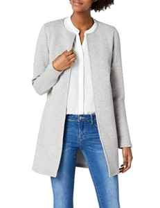 VILA CLOTHES VINAJA NEW LONG JACKET – NOOS, Veston Femme, Gris (Light Grey Melange), 36 (Taille fabricant: Small)