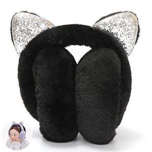 Beito 1pc Earmuffs Chaud d'hiver de Femme Chat Oreille Earwarmer Doux Pliable Bonneterie Earmuffs avec Sequin pour Fille (Noir)