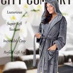 CityComfort Peignoir Femme Polaire Peignoirs de Bain Robe de Chambre avec Capuche (L, Charbon)
