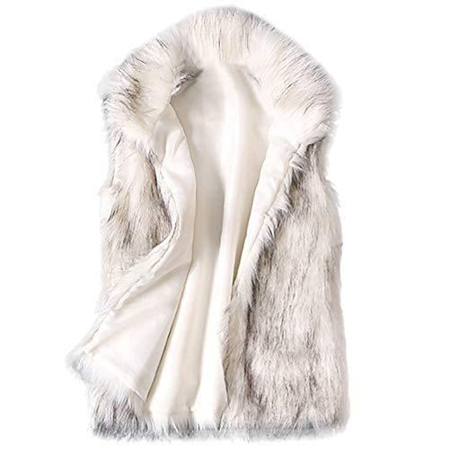 ELECTRI Clearance Big, Femme Hiver Chic Gilet Fourrure Chaud Lapin Élégante Manteau Fausse Vest sans Manches Mi-Longue Trench Parka