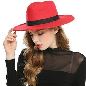Haimeikang Chapeau Fedora Rétro Feutre de Laine Chapeau Femme Filles Hiver Derby Church Panama Style (Rouge)