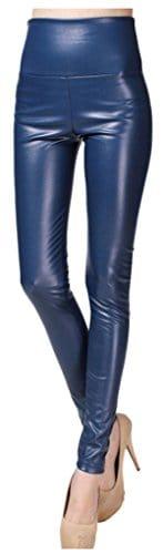 Lotus Instyle Taille Haute Simili Cuir épais Legging Femme Pantalon de Cuir – Bleu – Moyen