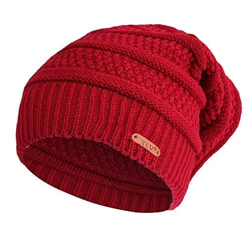 Moonuy Bonnet d'hiver Femme Chauffant Bonnet Tricot avec Écharpe de Doublure Polaire Hiver Beanie pour Femme Chaud Chapeau Tricoté Casquette Pliable Bonnet en Coton Chapeau