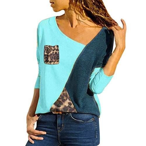 Moonuy Femme Grande Taille élégant Chemise Asymétriques Fluide Col V Manche Longue Boutonné Blouse Tops Léopard T-Shirts Tops Blouse Casual Shirt