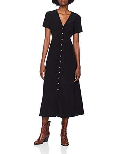 New Look Button Through, Robe Femme, Noir (Black 1), 38 (Taille Fabricant: 10)