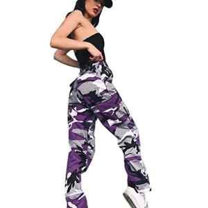 OVERDOSE Pantalon à Imprimé Camouflage, Femme Jogging Casual Sports Taille haute Trousers Jeans (EU:36=S, Violet)