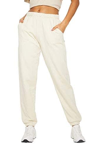 Pantalon Long Sport Femme avec Cordon de Serrage Mode Casual Baggy Harem Pants Straight Trousers Taille Haute Style Hip Hop Streetwear Pantalon de Danse Fitness Travail Jogging Gym Legging Sweatpants