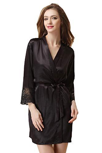 Peignoir Satin Robe de Chambre Kimono Femme Sortie de Bain Nuisette Déshabillé Vêtements de Nuit Femme Satin Lingerie Dentelle Peignoir Robes de Mariée Noir 2XL