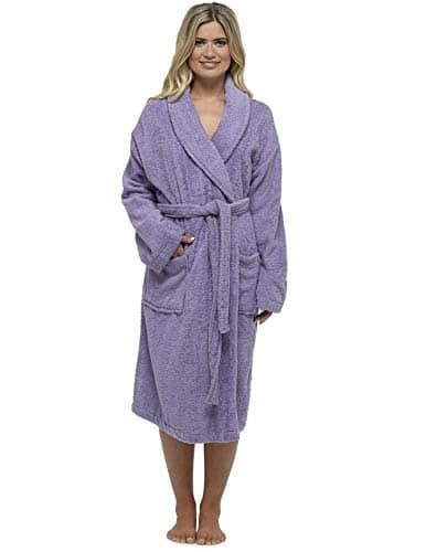 Robe De Dames Luxury Serviette Éponge 100% Coton Peignoir Robe De Chambre Perfect Cadeau Noël, Purple – Non Hooded, L