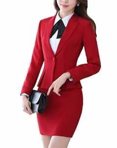SK Studio Femmes Travail Blazer Jupe De Bureau Tailleur Revers Casual Costume Manteau Rouge 36 étiquette L