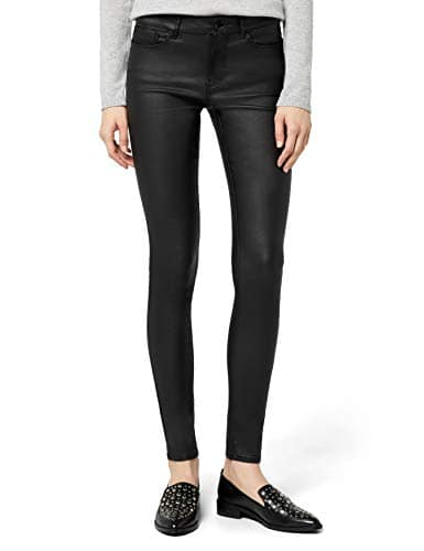 Vero Moda Vmseven NW S.Slim Smooth Coated Pants, Pantalon Femme, Noir (Black, FR: 42 (Taille Fabricant: XL/34)