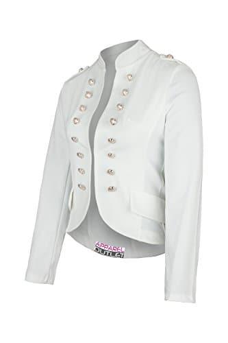 AO Massimo Blazer Style Militaire, Blanc, 46