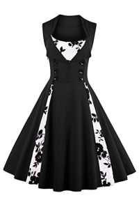 Babyonlinedress Robe de Soirée/Bal Courte Rétro Vintage Impression année 1950 Style Audrey Hepburn Rockabilly Swing sans manche avec Boutons Grande Taille Pois Fleur Noire L