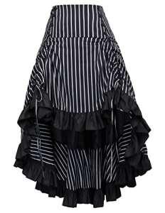 Belle Poque Femme Rétro Jupe Noir Plissée Gothique Année 50 1X BP345-2