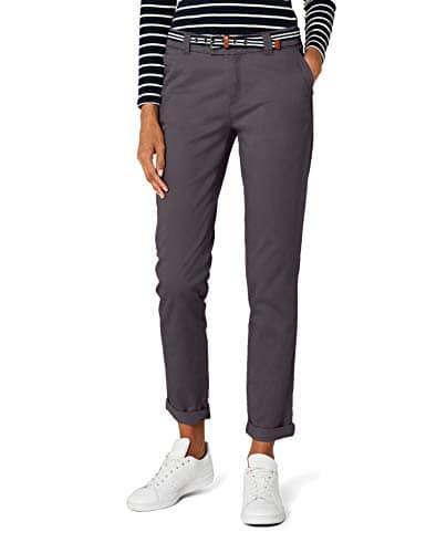 Esprit 996EE1B900 – Pantalon – Chino – Femme – Gris (Medium Grey) – FR: 38 (Taille fabricant: DE: 36)