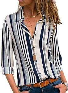 FIYOTE Blouse Femme Rayée Automne Chemisier Boutonné Devant T-Shirt Manches Longues Blanc M(EU40-42)