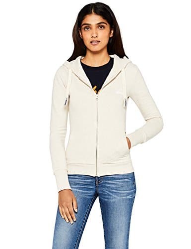 HIKARO Sweat-Shirt Zippé à Capuche Femme, Beige (Oatmeal Marl), 38 (Taille fabricant: Small)