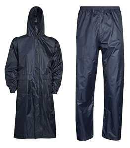Islander Fashions V�tements de pluie unisexe imperm�able long manteau et pantalon ensemble robe de travail adulte bleu marine X Large