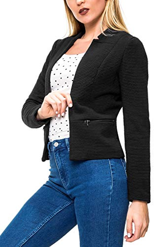 Only Onllink Maddy L/s Zip Blazer CC TLR, Veste De Costume Femme, Noir (Black Detail: Solid), 42 (Taille Fabricant: 40)