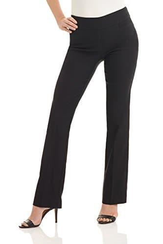 Rekucci Femme Pantalon Extensible Coupe Évasée Moderne Facile à Enfiler (8,Noir)