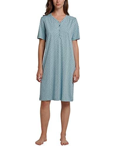 Schiesser Nachthemd 1/2 Arm, 100cm, Chemise De Nuit Femme, Vert (Jade 713), 42 (Taille Fabricant: 040)