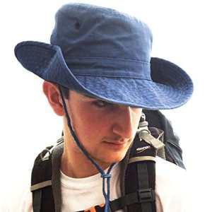 TOSKATOK® Anti UV UPF 50 + Bob Unisexe Style Australien en Coton à Bords Larges, mentonnière, Boutons Pression sur Le côté etOeillets-Denim