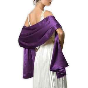 Très Chic Mailanda Écharpe Châle Étole en Satin Femme Wrap Foulard Pashmina pour Soirée Cérémonies Fêtes Mariage (240cm*75cm, violet)