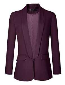 Urban GoCo Femme Veste De Tailleur Courte Casual Slim OL Blazer Blouson Costume d'affaires (Small, Raisin Vin)