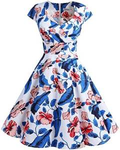 Bbonlinedress Robe Femme de Cocktail Vintage Rockabilly Robe plissée au Genou sans Manches col carré Rétro RoyalBlue Flower M