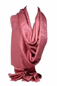 Bullahshah Qualité deux faces impression libre en relief Pashmina sensation Wrap écharpe étole châle (Rose Floral)
