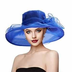 Dafunna Femme Organza Chapeau Retro Elegant Pliable Large Bord Orné Fleurs Bohemia Chapeau pour Église Derby Voyage Mariage Cocktail Plage (Bleu)