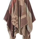 Femme Cape Poncho Extra Large écharpe Châle Blanket Poncho Automne Hiver (One size, Leopard / Café)