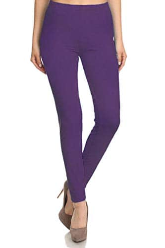 FUNGO Leggings Femmes Long Leggins De Sport Yoga Fitness Pantalon (44, Violet)