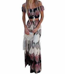 GUOCU Femme Robe Longue Ete Boheme Chic Robe de Plage Soirée Casual Imprimé Fleurie Mode FendueCol Bateau Épaules Dénudées XL Aspicture