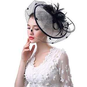 KAXIDY Casquette Femme Cérémonie Chapeau Fête Bride Chapeau Casquettes Voilette Mariée Bonnet Casquette (Noir/Blanc)