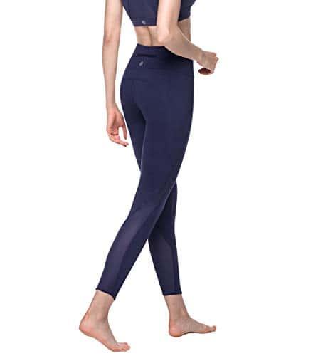 LAPASA Legging Femme Pantalon de Sport avec Maille Yoga Fitness Gym Pilates Taille Haute Gaine Large L22 – Violet Foncé – 36/S (Tour de taille : 64-74cm)