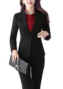 SK Studio Femmes Blazer Tailleurs Pantalons De Bureau 2 Pièces Revers Casual Costume Manteau Noir 34 étiquette M