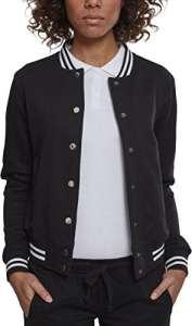 Urban Classics – Ladies College Sweat Jacket – Veste de Sport – Femme – Noir (Blk/Blk 00017) – Taille: M