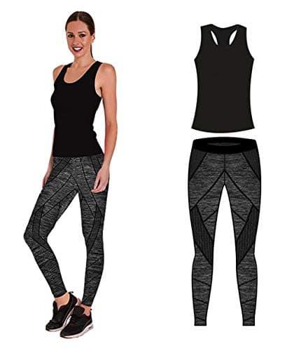 Bonjour Vêtements de Sport pour Femme avec Gilet et Court et Leggings (Lot de 2 pièces Haut et Leggings) Stretch Fit Yoga Gym Wear Set, Black Technical Vest Top, One Size (UK 8-14)