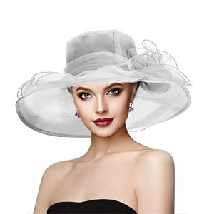 Dafunna Femme Organza Chapeau Retro Elegant Pliable Large Bord Orné Fleurs Bohemia Chapeau pour Église Derby Voyage Mariage Cocktail Plage (Blanc)