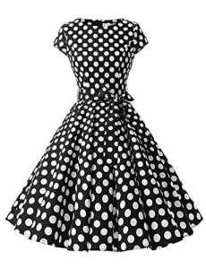 Dressystar DS1956 Robe à 'Audrey Hepburn' Classique Vintage 50's 60's Style à Mancheron Black White Dot B M