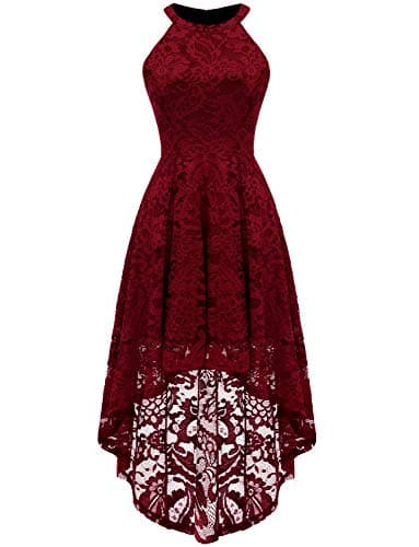Dressystar Rockabilly Robe de Cocktail Femme Asymétrique Dentelle 0028 Dark Red M