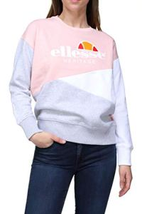 ellesse Wn's SW Col Rond Tricolore Rose Gris, Sweat-Shirt, Rose/Blanc/Gris, M